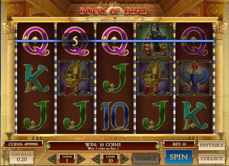 Book of Dead Pokie at Evolve Casino