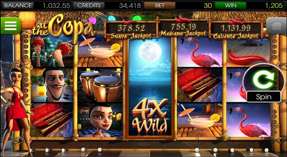 At the Copa Pokie on Mobile by BetSoft - DuckyLuck Casino