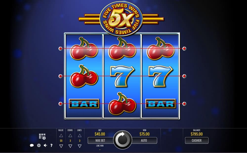 Five Times Wins Pokie by Rival Slots at DuckyLuck Casino