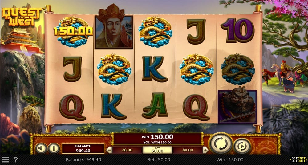 Quest to the West Pokie by BetSoft at DuckyLuck Casino