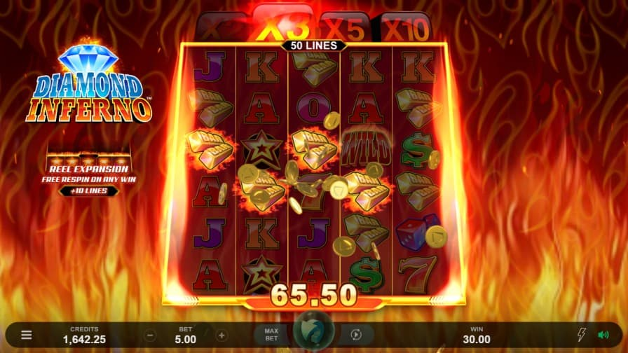Diamond Inferno Slot Game by Microgaming at ViggoSlots Casino