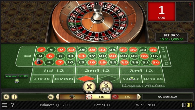 European Roulette game by BetSoft at Casinomia
