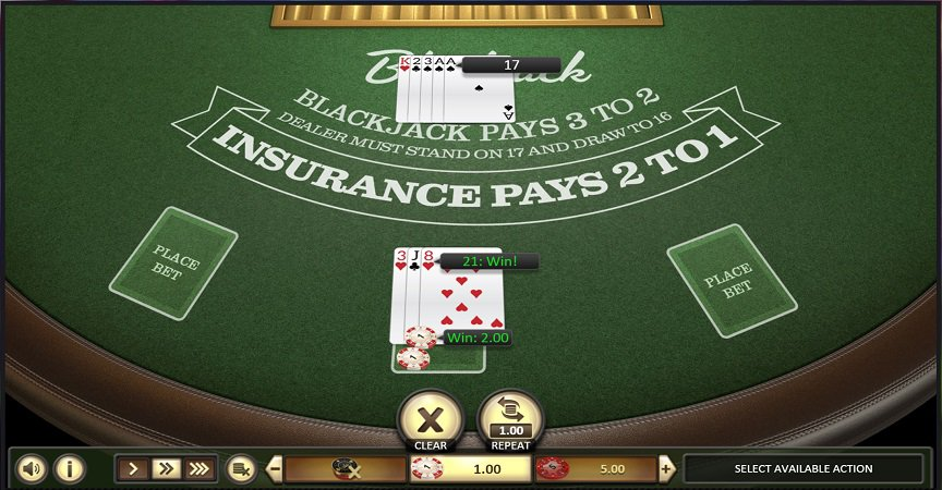 Blackjack game by BetSoft at Casoo