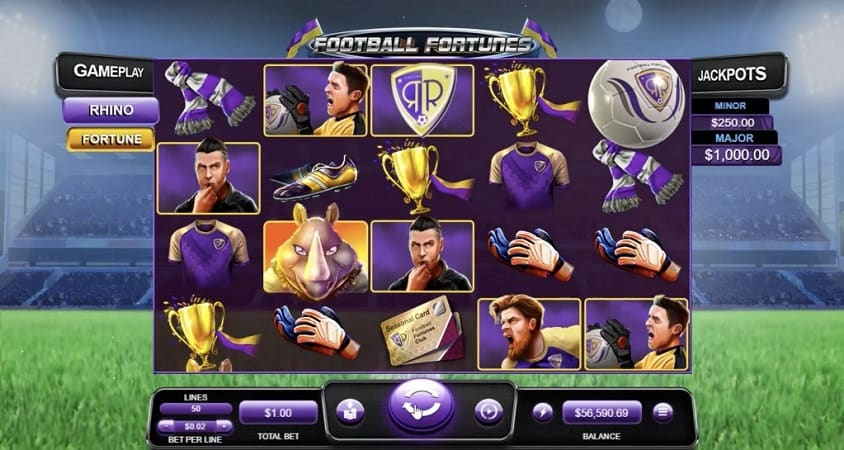 Football Fortunes Pokie by RTG at Ozwin Casino