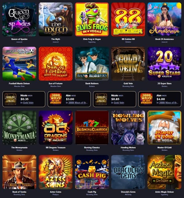 QueenSpins Review - Pokies Section