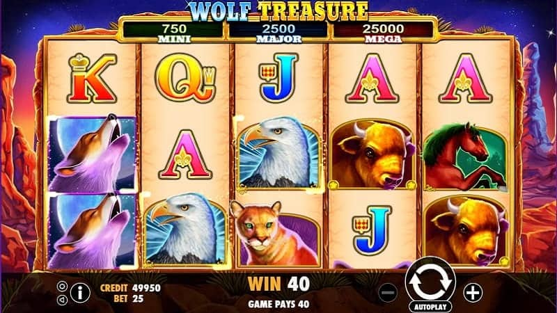 Screenshot of Wolf Treasure Pokie Game by IGTech at Wild Tornado