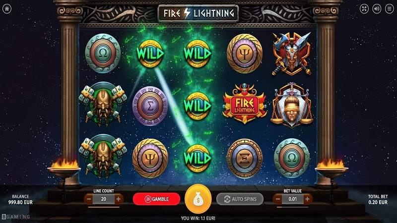 Screenshot of Free Spins on Fire Lightning Pokie by Bgaming